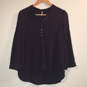 Free People Navy Bell Sleeve 1/4 Button up Top